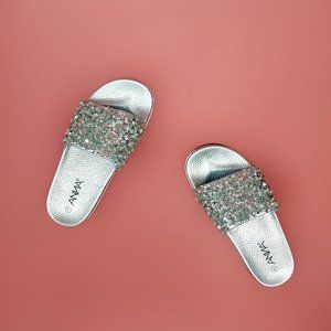 Anna bedazzled silver beaded visit slide on sandal